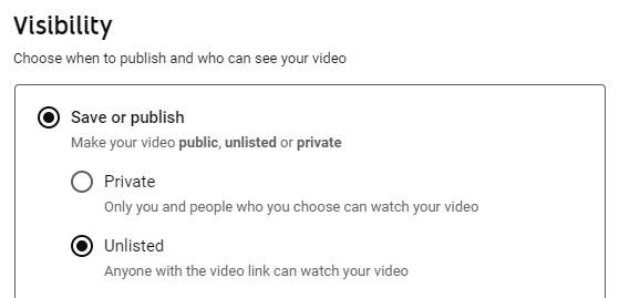 Visibility for an unlisted YouTube Video